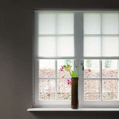 27 in. W x 72 in. L Cut-to-Width Bright White Transparent Plain Polyester Spring Roller Shade
