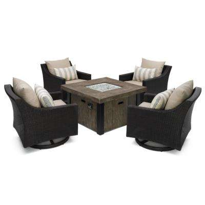 Deco 5-Piece All-Weather Wicker Patio Fire Pit Patio Conversation Set with Slate Grey Cushions