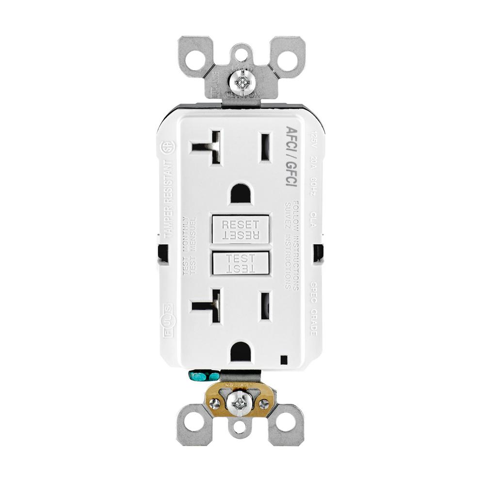 leviton 20 amp 125 volt afci gfci dual function outlet white agtr2 w the home depot. Black Bedroom Furniture Sets. Home Design Ideas