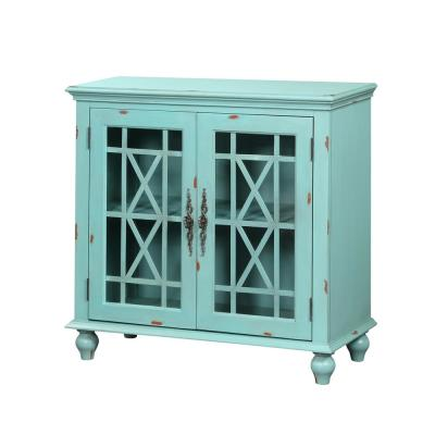 Harper's Branch Aged Tourquoise Accent Cabinet with Framed Doors