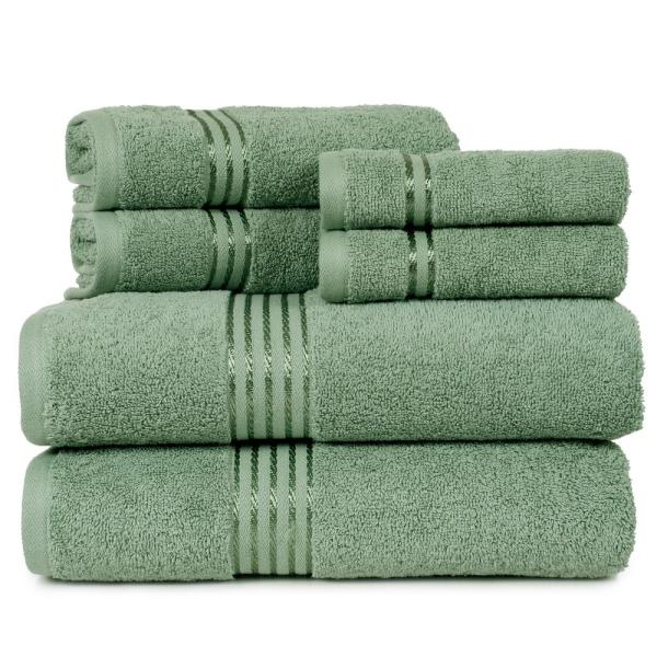 Lavish Home 100% Egyptian Cotton Hotel Towel Set in Green (6-Piece)