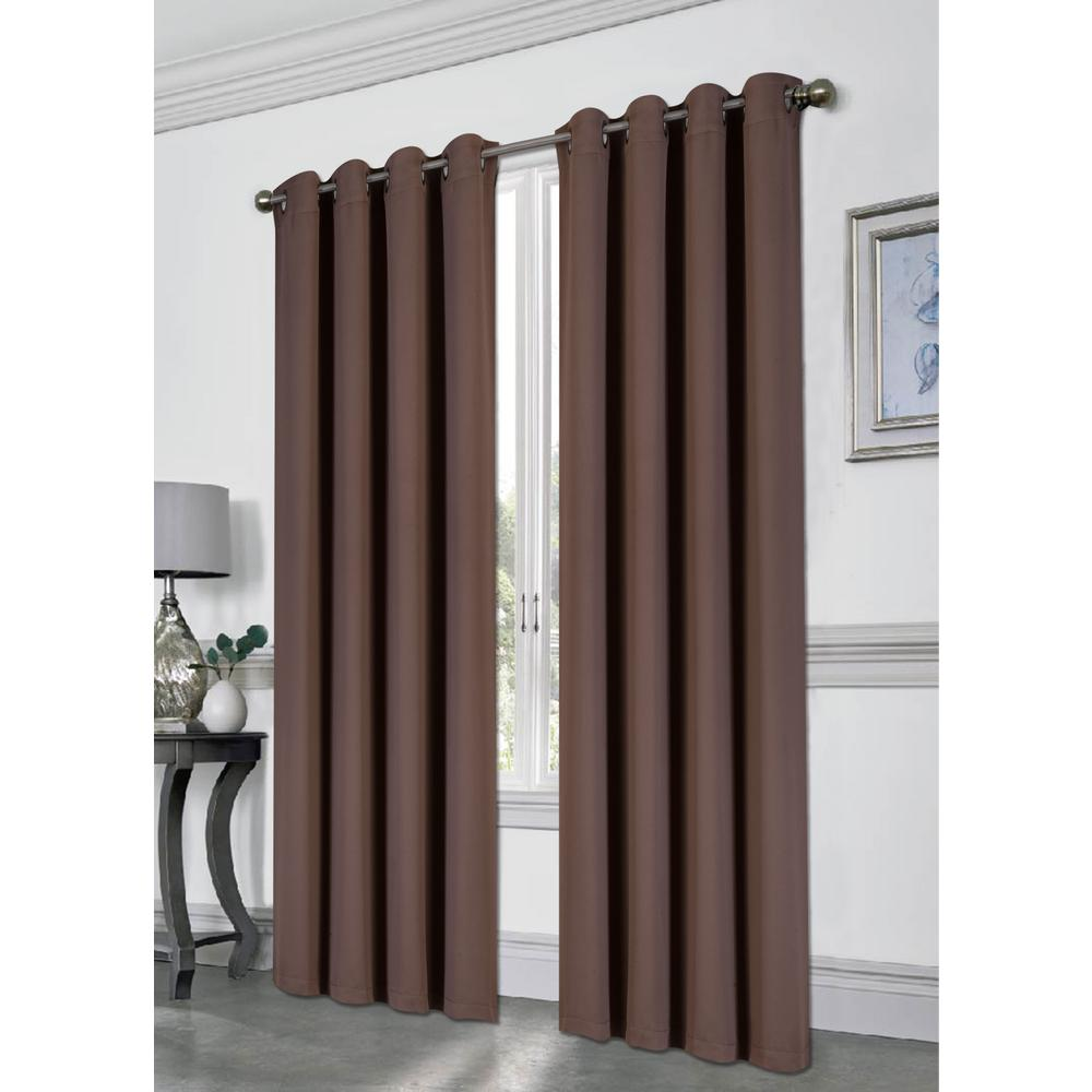 Tessa 54 in. x 84 in. Grommet Blackout Panel in Chocolate