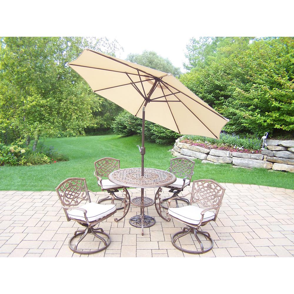 7-Piece Aluminum Outdoor Dining Set with Oatmeal Cushions and Beige Umbrella