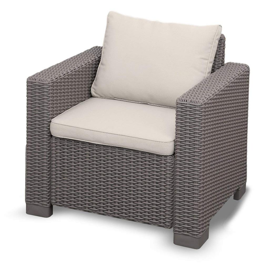 Yukon Glory Cappuccino All-Weather Wicker Pattern Outdoor Lounge Chair with Tan Cushion