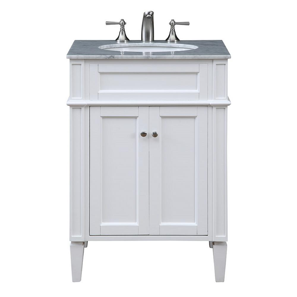 Nanticoke 24 in. Single Bathroom Vanity with 1-Shelf 2-Doors Marble Top