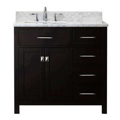 Caroline Parkway 36 in. W Bath Vanity in Espresso with Marble Vanity Top in White with Square Basin