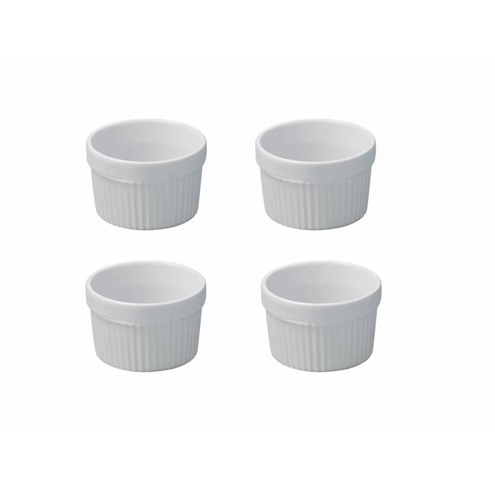 French Classics 4-Piece Round Porcelain Individual Souffle Set in White