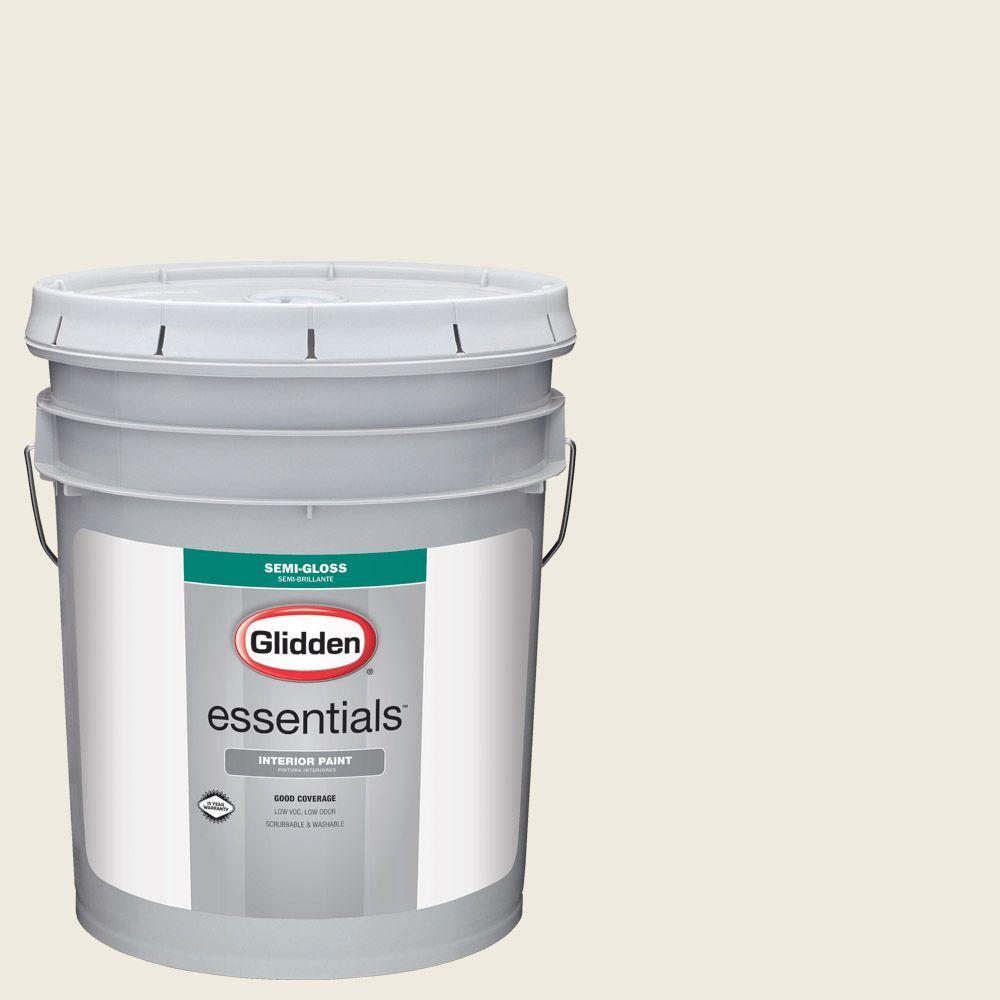 5 gal. #HDGWN30 Parchment White Semi-Gloss Interior Paint