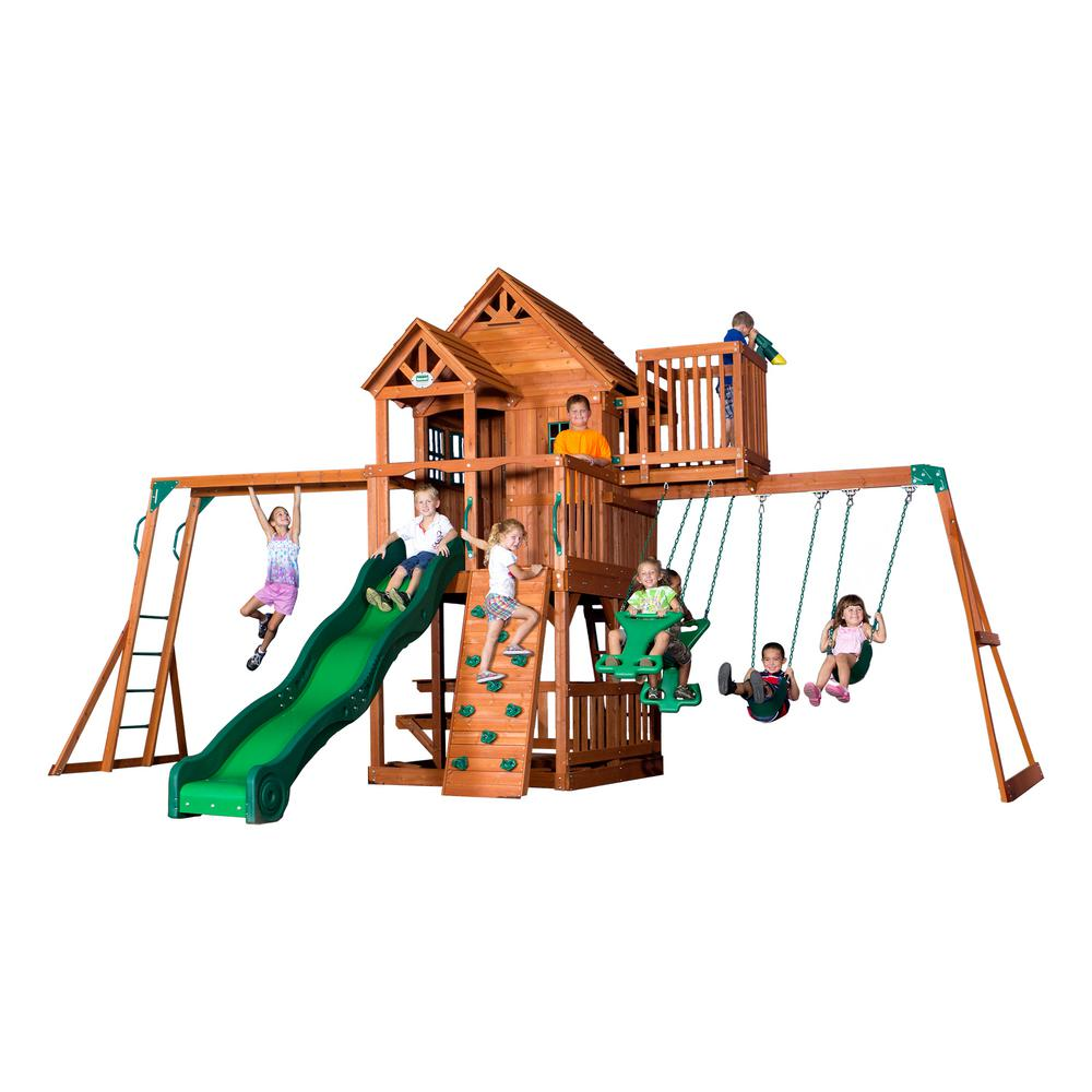 Backyard Discovery Cedar View Swing Set backyard discovery skyfort ii all cedar playset-6113com - the home depot