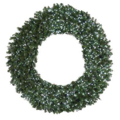 60 in. Pre-Lit LED White and Multi Starry-Light Artificial Wreath