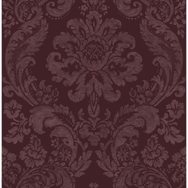 A-Street 8 in. x 10 in. Shadow Merlot Damask Wallpaper Sample