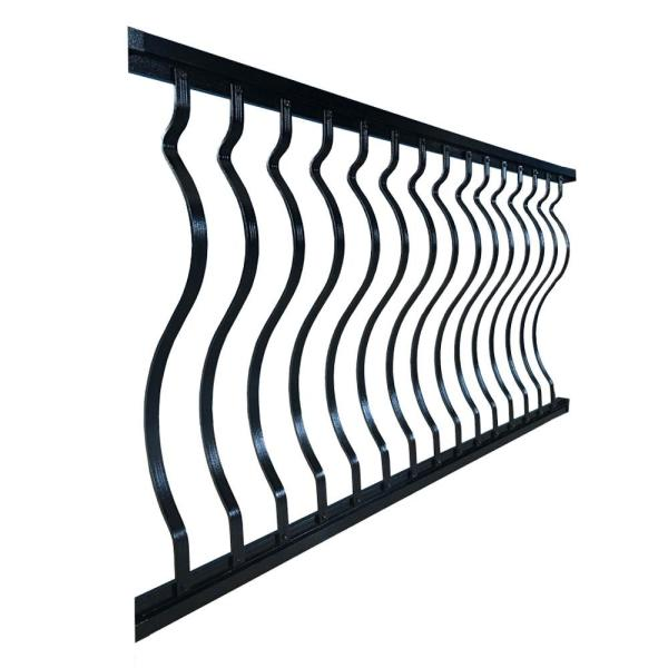 6 ft. x 36 in. Textured Black Aluminum Curved Baluster Straight Railing Kit