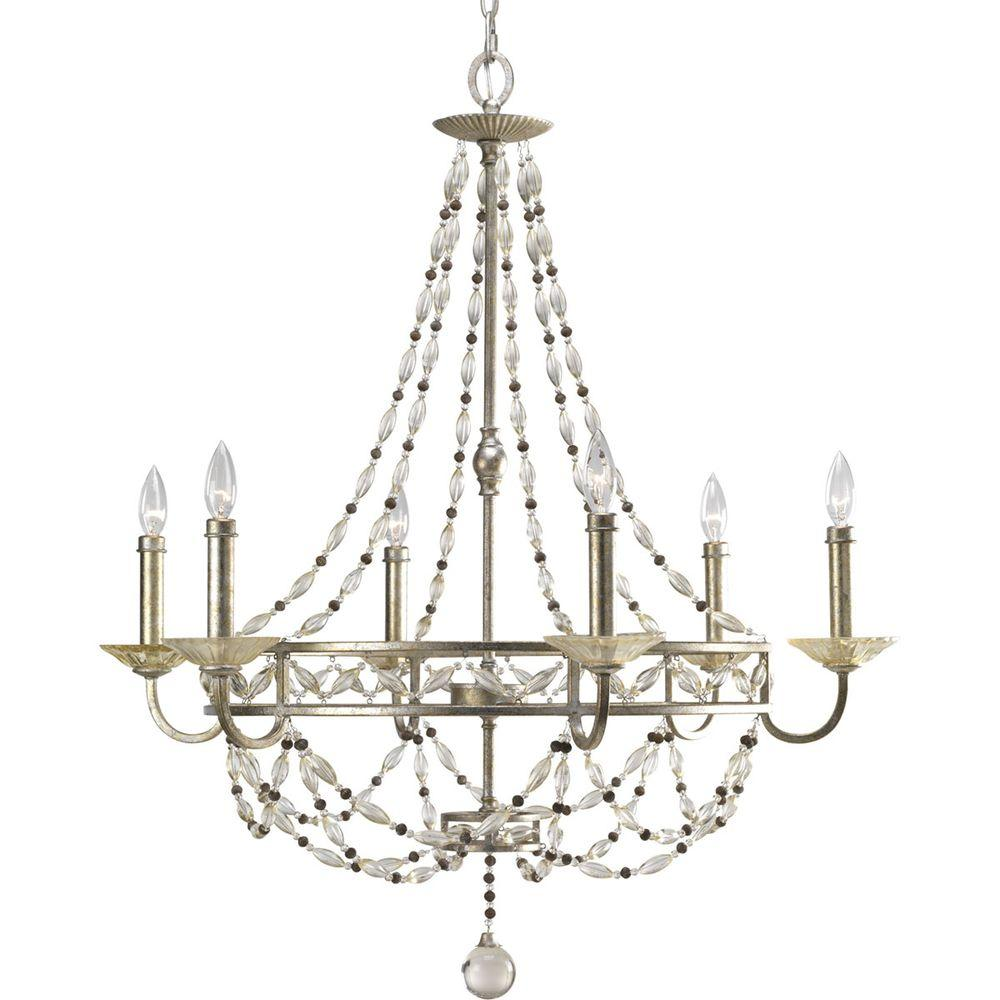 Progress Lighting Chanelle Collection 6-Light Antique Silver Chandelier