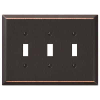 Oversized 3 Gang Toggle Steel Wall Plate - Aged Bronze