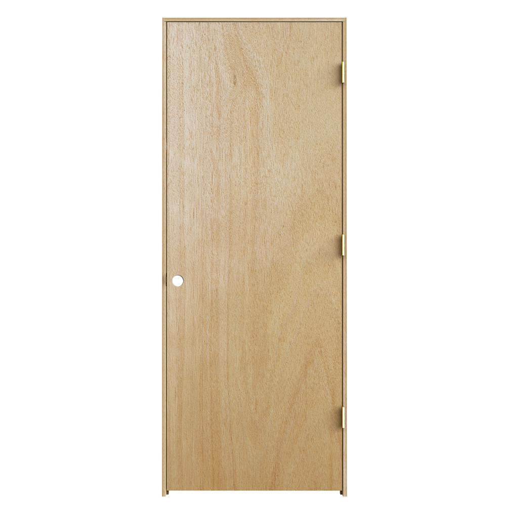 32 In X 78 In Unfinished Flush Hardwood Interior Door: JELD-WEN 28 In. X 78 In. Unfinished Left-Hand Flush