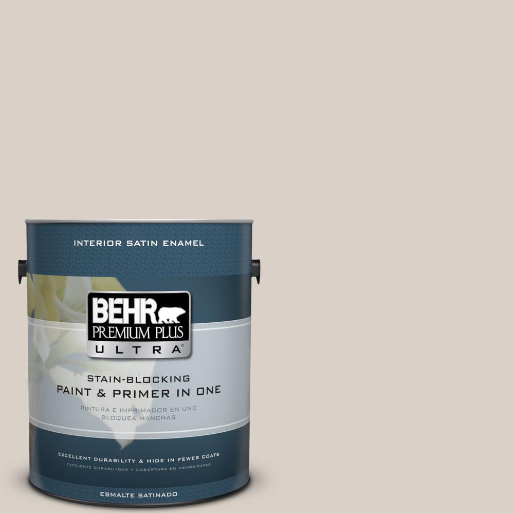 BEHR Premium Plus Ultra 1-gal. #ECC-18-2 Pebbled Shore Satin Enamel Interior Paint