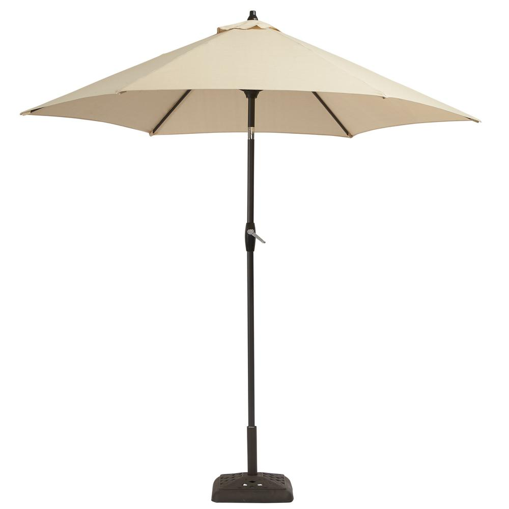 Hampton Bay 9 ft. Aluminum Patio Umbrella in Oatmeal with Tilt