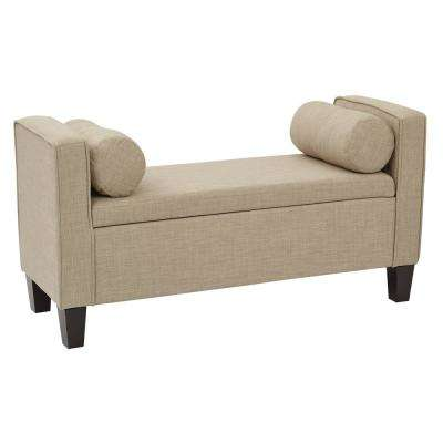 Cordoba Milford Toast Fabric Storage Bench with Pillows