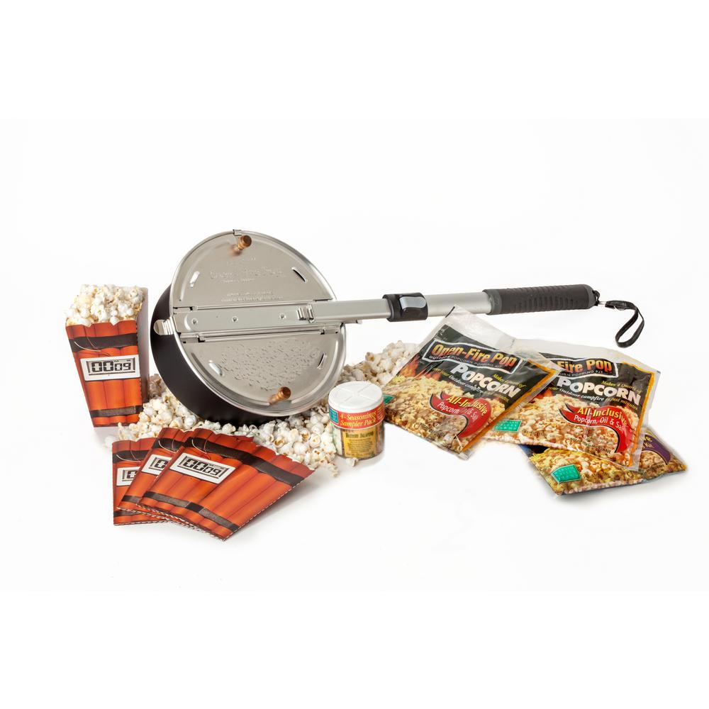 Open Fire Pop 13-Piece Aluminum Black Popcorn Popper Set