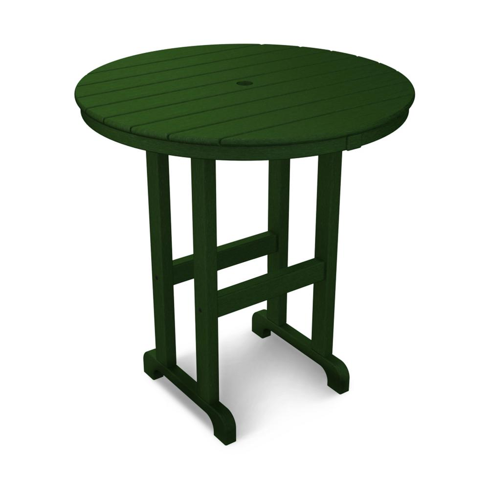 La Casa Cafe 36 in. Green Round Plastic Outdoor Patio Counter