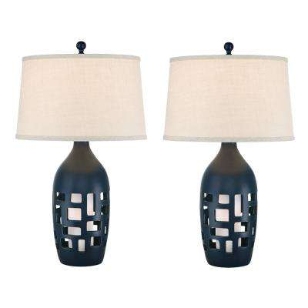 31 in. Navy Blue Indoor Table Lamp Set