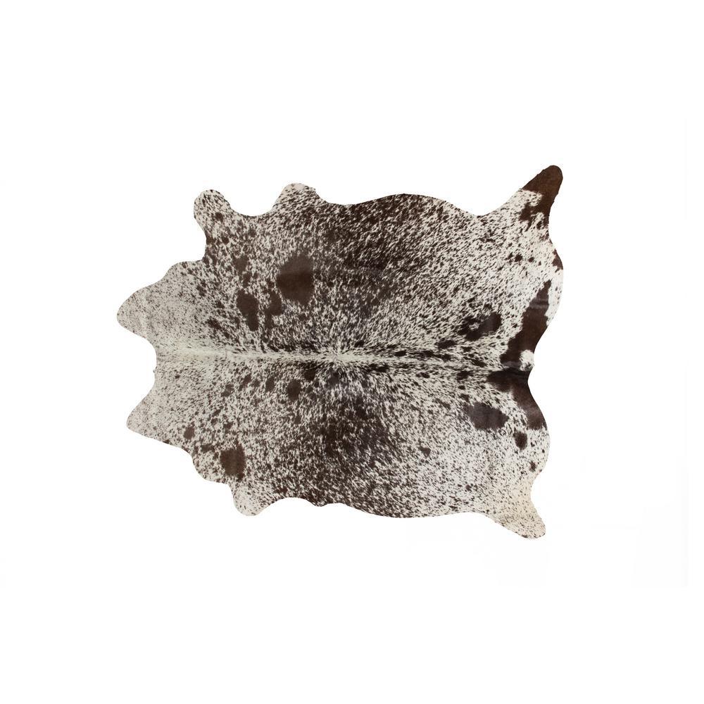 Kobe Cowhide  Salt & Pepper White/Chocolate 5 ft. x 7 ft. Animal Print Area Rug
