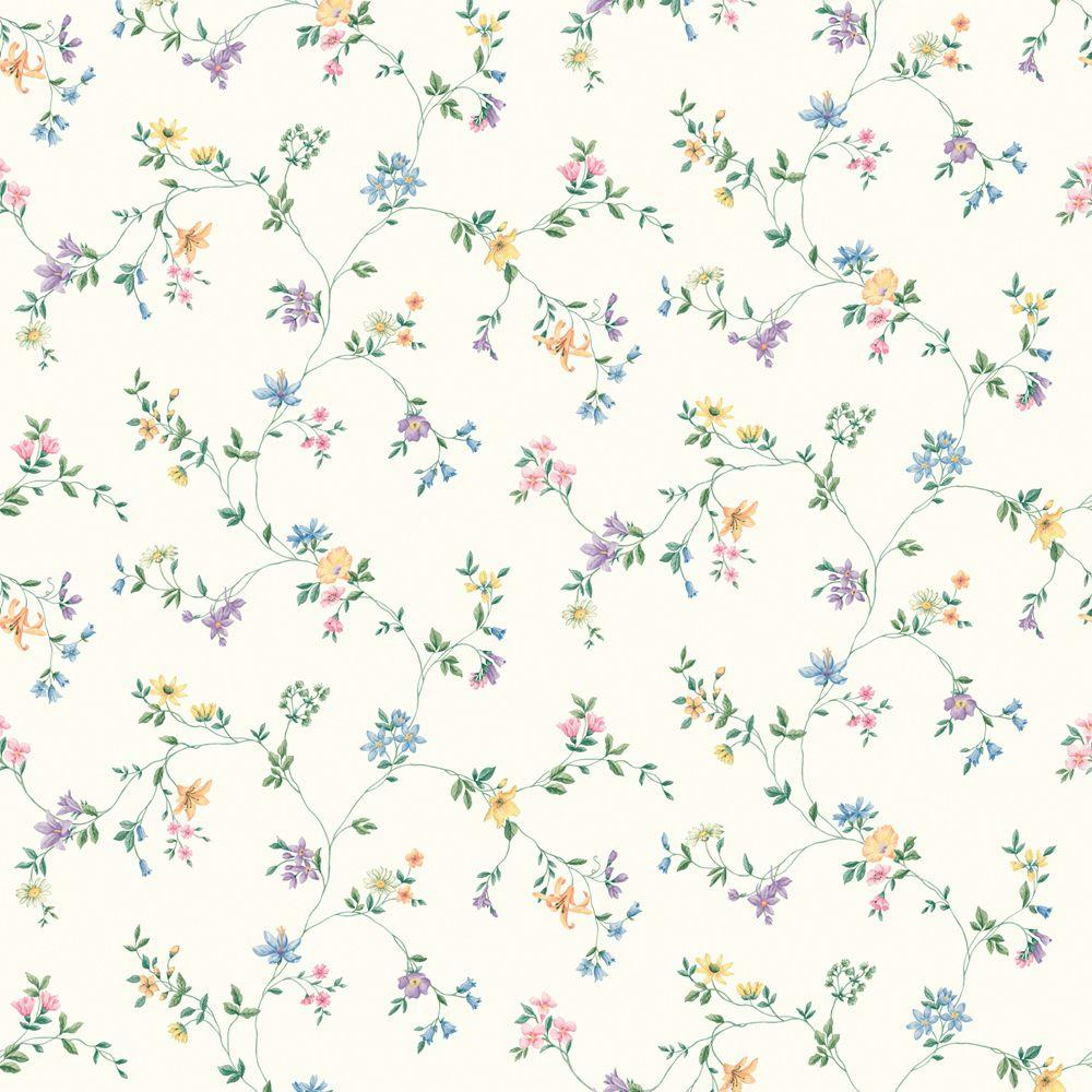 The Wallpaper Company 8 in. x 10 in. Multi Colored Wild Flower Trail Wallpaper Sample