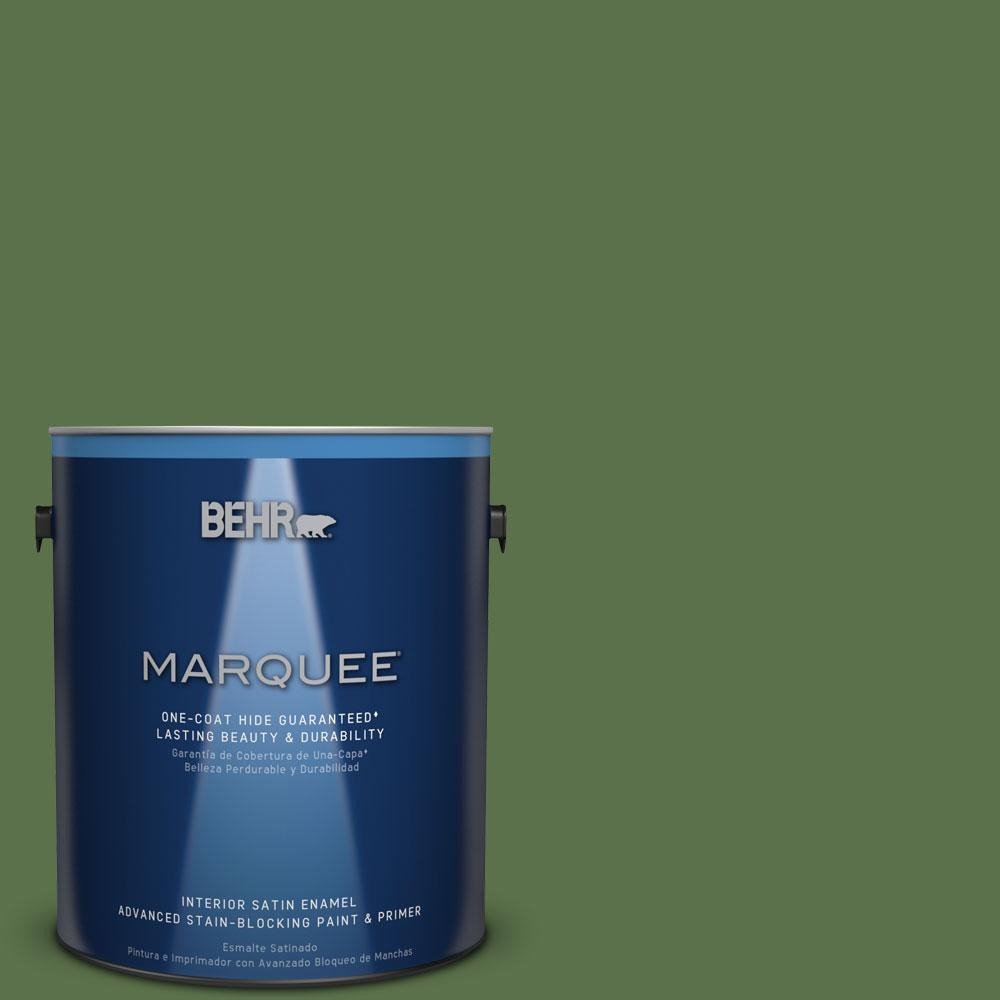 1 gal. #MQ6-48 Hummingbird Green One-Coat Hide Satin Enamel Interior Paint