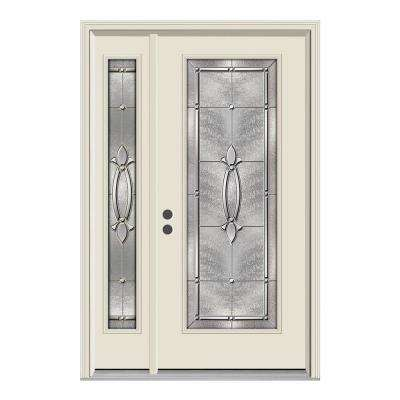 52 in. x 80 in. Full Lite Blakely Primed Steel Prehung Right-Hand Inswing Front Door with Left-Hand Sidelite