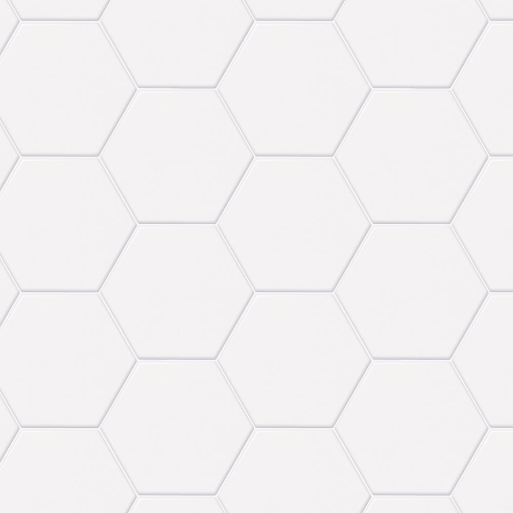 Daltile Semi Gloss White Hexagon 4 In