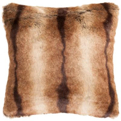 Faux Fur Luxe Chocolate Animal Print Faux Fur Down Alternative 20 in. x 20 in. Throw Pillow
