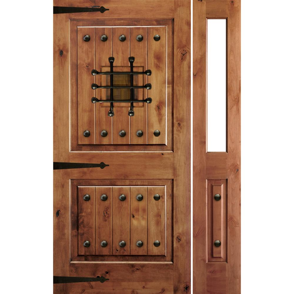 Krosswood Doors 46 in. x 80 in. Mediterranean Alder Sq Clear Low-E Unfinished Wood Left-Hand Prehung Front Door with Right Half Sidelite
