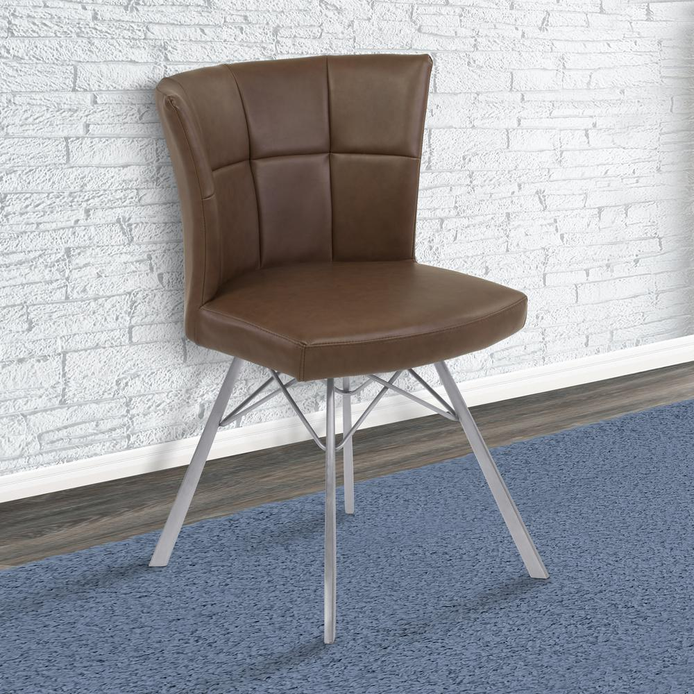 Spago 32 in. Vintage Coffee Faux Leather and Brushed Stainless Steel