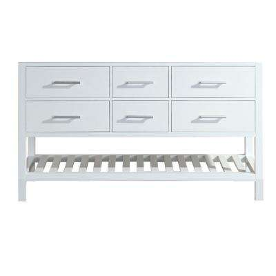 London 59.5 in. W x 21.5 in. D Vanity Cabinet Only in White with Open Bottom