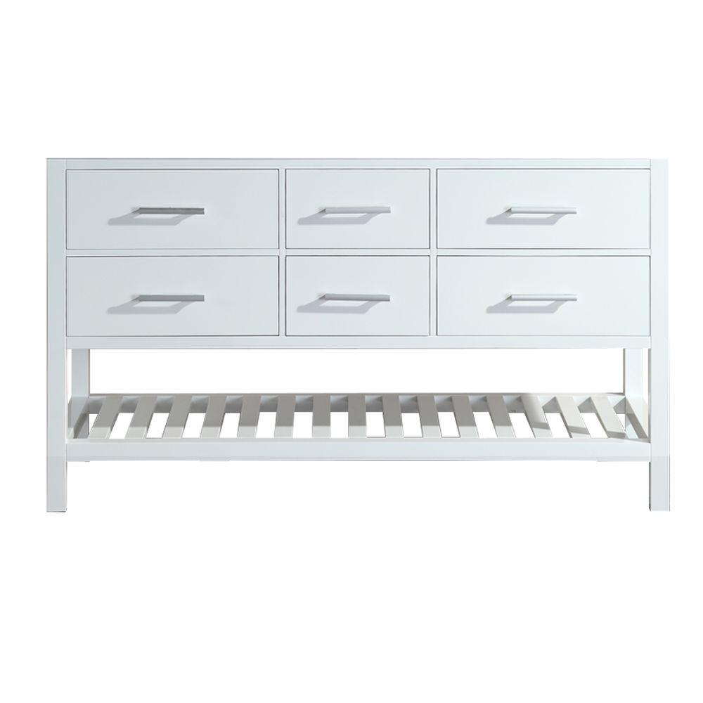 Design Element London 59 5 In W X 21 5 In D Vanity Cabinet Only In White With Open Bottom
