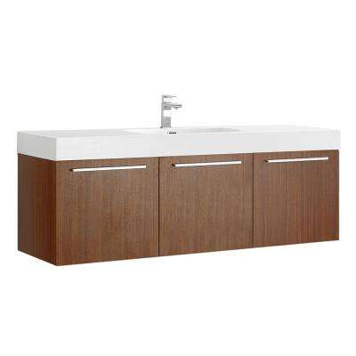 Vista 60 in. Modern Wall Hung Bath Vanity in Teak with Vanity Top in White with White Basin