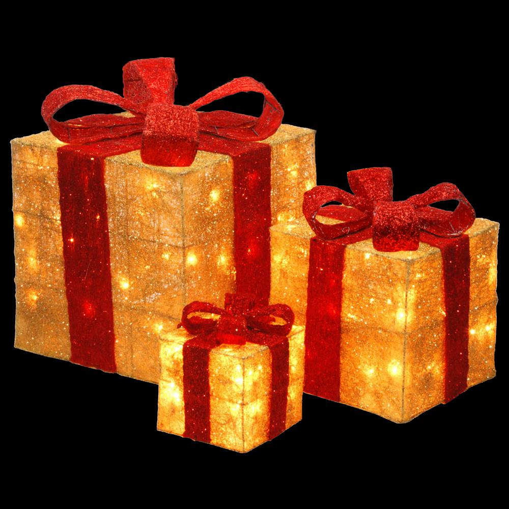 Lighted christmas gift boxes yard decor - National Tree Company Pre Lit Gold Sisal Gift Box Assortment