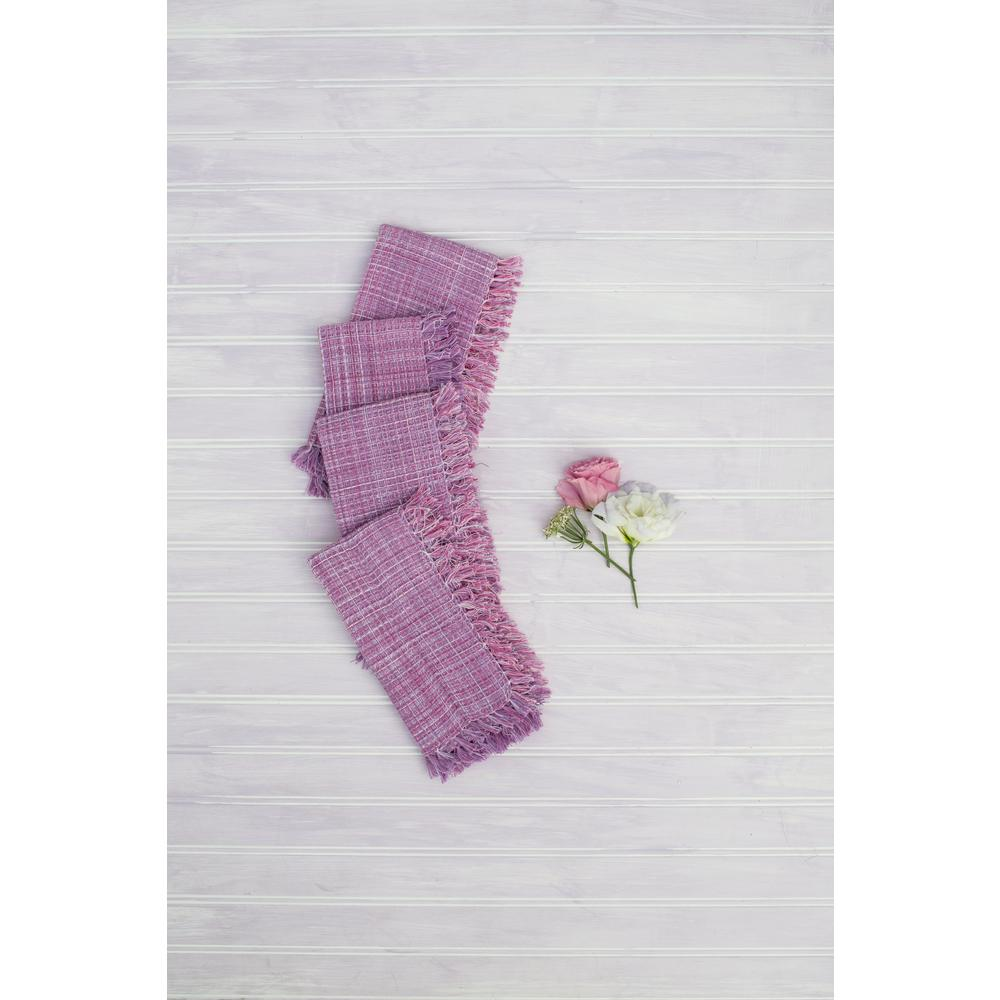 "April Cornell Misty Island Purple Fringed 18"" x 18"" Napkins Set of 4"