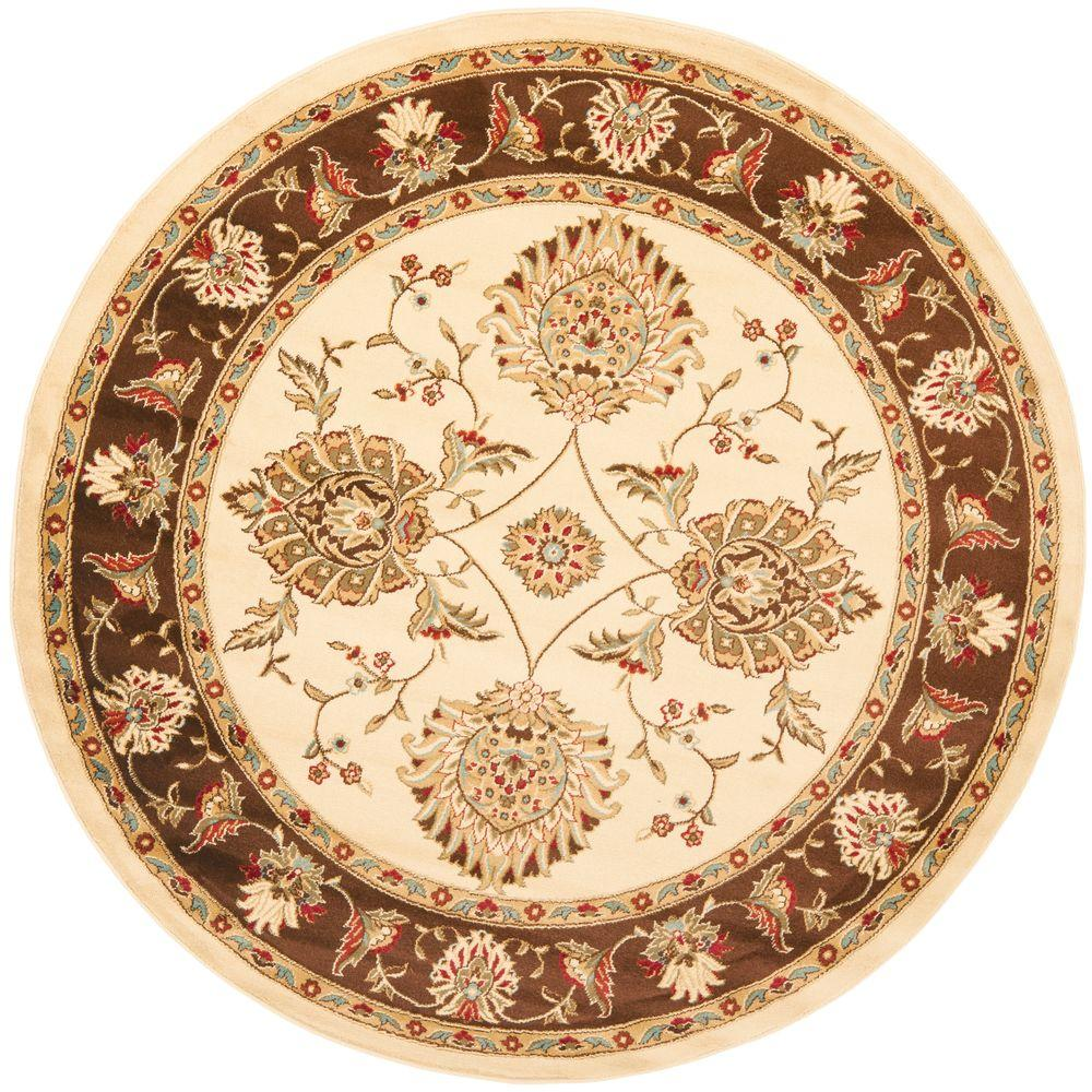 safavieh lyndhurst ivory brown 5 ft 3 in x 5 ft 3 in round area rug lnh555 1225 5r the. Black Bedroom Furniture Sets. Home Design Ideas
