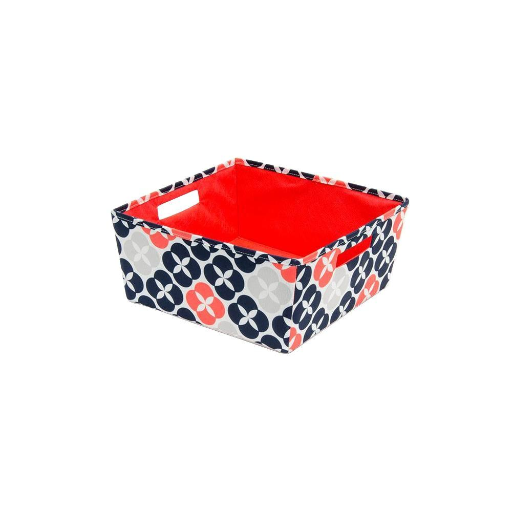 b+in 12.5 in. x 5.8 in. x 12.5 in. Decorative Fabric Half Storage Bin in Blossom Button (4-Pack)