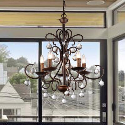 Grace Crystal Drop Curved 5-Light Antique Bronze Chandelier
