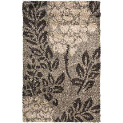 Florida Shag Smoke/Dark Brown 3 ft. 3 in. x 5 ft. 3 in. Area Rug
