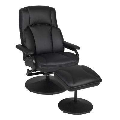 Impresa Black Swivel Recliner with Ottoman