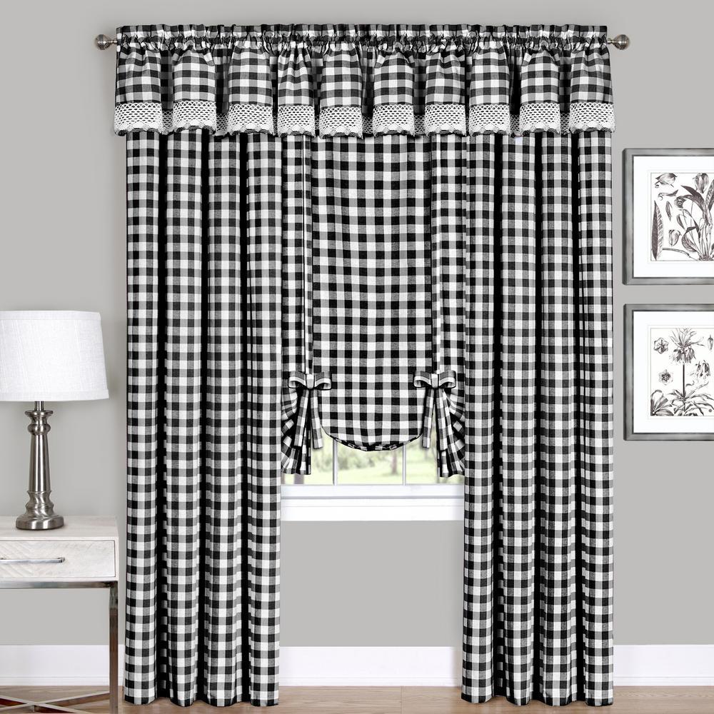 Semi-Opaque Buffalo Check Black Poly/Cotton Window Curtain Panel 42 in. W x 63 in. L