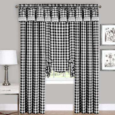 Semi-Opaque Buffalo Check Black Poly/Cotton Window Curtain Panel 42 in. W x 63 in. L