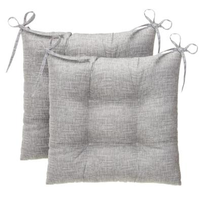 Portico Grey Square Tufted Outdoor Seat Cushion (2-Pack)