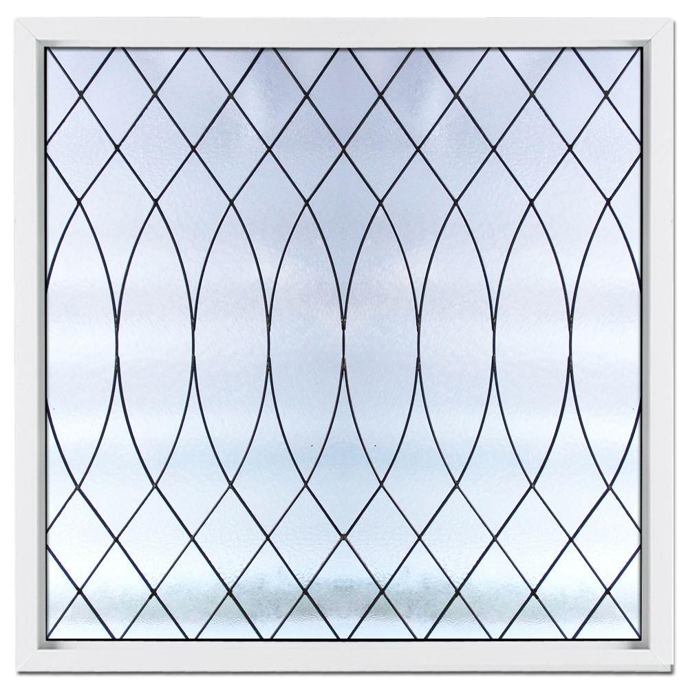 Hy-Lite 25 in. x 25 in. Satin Nickel Caming Euro PE Pattern Decorative Glass White Vinyl Fin Picture Window-DISCONTINUED