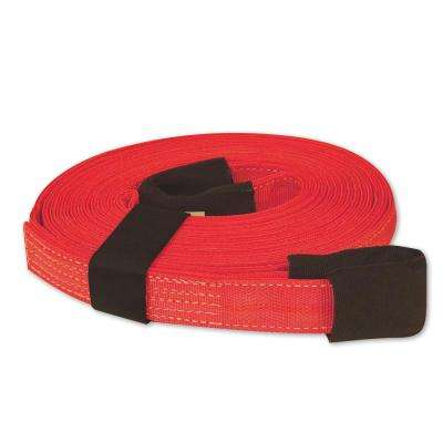 30 ft. x 2 in. x 30 ft. Tow Strap with Hook and Loop Storage Fastener in Red