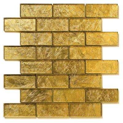 Folia Golden Willow 12 in. x 12 in. x 6.35 mm Gold Glass Mesh-Mounted Mosaic Wall Tile (10 sq. ft. / case)