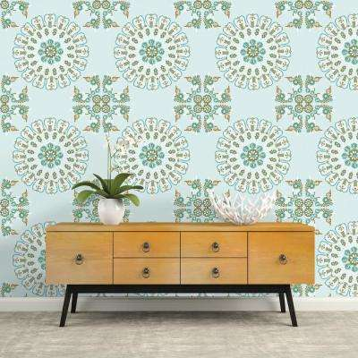 Medallion Turquoise and Gold Repeel Removable Wallpaper